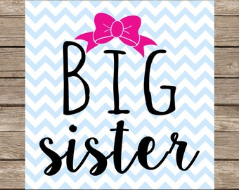 Big Sister svg bow sister svg file png svg svg cut files DXF SVG PNG Silhouette Cameo cutting file