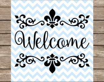 welcome svg, welcome, home svg, fleur de lis svg, svg designs, flourish svg, welcome sign svg, svg, fleur de lis, flourish welcome cut files