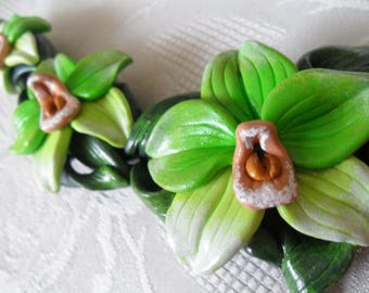 Orchid Necklace, Orchid Jewelry, Flower Necklace, Green Necklace