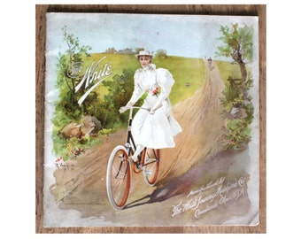 Late 1800s The White Bicycles Then and Now Advertising Book by White Sewing Machine Co.