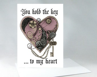 Romantic Card, Wedding Card, Anniversary Card, Valentine Card, I Love You Card, Steampunk Art Card, Love Card, Romance Card, Heart Card 1067