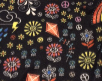 Fleece Knot Blanket, Rainbows, Kites, Peace signs, and more print with Yellow backing, Medium