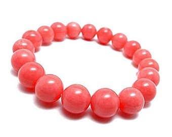 Pink Bracelet, 10 mm Pink Coral Bracelet, Pink Stone Bracelet, Pink Gemstone Jewelry, Pink Coral Bridesmaid Bracelet, Bead Bracelet Women