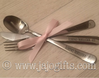 Personalised stainless steel cutlery set knife fork and spoon perfect for christening or new baby gift