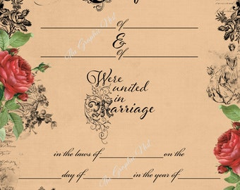 Marriage Certificate. Digital download
