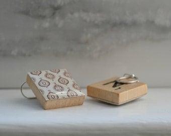 Repurposed Scrabble Tile Earrings - Medallion/Sepia