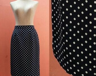 80s Summer Skirt Casual Skirt Retro Skirt Pencil Skirt Womens Skirts Vintage 1980s White Polka Dot Navy Blue Polyester Japanese Skirt S/M