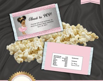Printable Microwave Popcorn Wrapper, Ready to Pop, Little Princess, Royal Baby Shower, Pink, EDITABLE text, DOWNLOAD Instantly Word Format