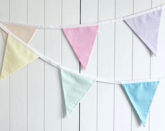 Candy Stripe Bunting - Multi Coloured Bunting - Party Banner - Party Flags - Birthday Bunting - Rainbow Bunting - Summer Garden Garland