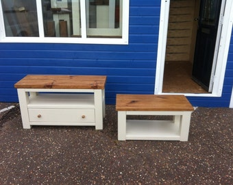 Chunky rustic reclaimed timber TV unit & cofee table with draw Painted