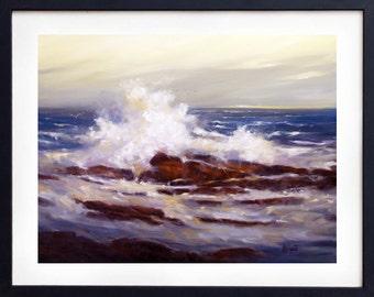 Painting Ocean, Ocean waves, Seascape painting, Print, Art print, Beach painting, Landscape painting, Wall art, Painting, Giclee,