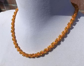 Handcrafted - Twisted Rope Necklace - Woven Beaded Necklace - Glass Seed Beads - Vintage Jewellery - Gift for Her - Orange