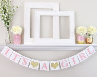 It's a Girl Banner -Pink and White Baby Shower Decorations - Pink and Gold Baby Shower Sign