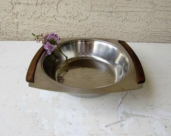 Mid Century Modern Bowl - Stainless and Wood - Teak - Vintage - Danish Modern Serving Bowl - Stainless Made in Denmark -