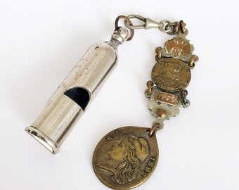 Vintage French Whistle Keychain Medal Fob Chain