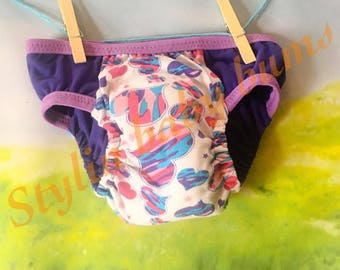 Size MEDIUM girls knit cloth trainer training pants. Valentines purple hearts pull ups- FREE SHIPPING-