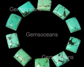 5 Pieces Lot Natural Turquoise 13X18 MM Octagon Shape Flatback Gemstone Cabochon