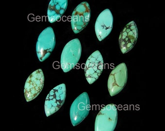 25 Pieces Lot Natural Turquoise 5X10 MM Marquise Shape Cabochon Flatback Gemstone