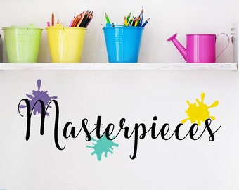 Masterpieces Decal - Kids Artwork Gallery - Masterpieces Wall Decal - Playroom Wall Decal - Vinyl Decal for Displaying Childrens Artwork