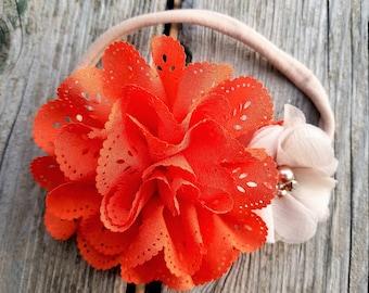 Hair Accessory, Girls Accessory, Flower Headband, Spring Flower, Flower Girl, Baby Headband, Eyelet Lace Flower, Easter Flower, Photo Prop