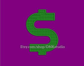 Dollar Symbol Currency Sign Embroidery Design - 5 Sizes - INSTANT DOWNLOAD