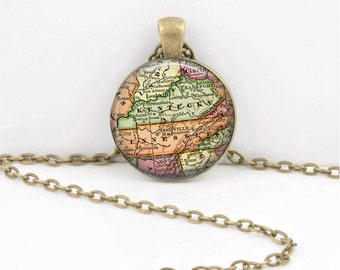 Kentucky Tennessee Vintage Map Geography Gift  Pendant Necklace or Key Ring