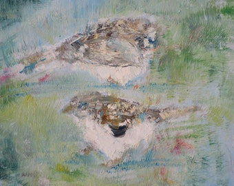 LITTLE BIRDS - original oil painting - one of a kind!