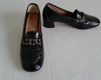 "Mod Vintage 60s/70s Shoes Sz. 8.5~9 Black Patent Leather Modern square heel ""Flings"" Shoes/1960 Mad Men Style"