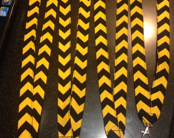 Yellow and Black Chevron Lanyard ID Badge Holder