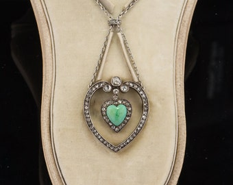 Edwardian rare natural turquoise and diamond heart necklace brooch from Koch jewelers in original fitted box