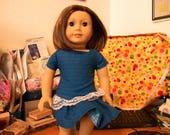 """Doll (18"""") dress Dark Blue drop-waisted"""
