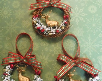 Country Christmas Ornaments Rustic Christmas Ornaments Deer Christmas Ornaments Handmade Ornaments Woodland Ornaments Small Ornaments