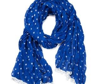 Royal Blue & White Pom Pom Scarf - Originally 15.00