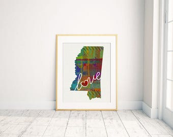 Mississippi Love - MS - A Colorful Watercolor Style Wall Art Hanging & State Map Artwork Print - College, Moving, Engagement and Shower Gift