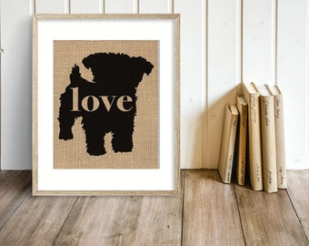 Yorkiepoo - Yorkie / Poodle Burlap Dog Breed Wall Art Home Decor Rustic Print - Gift for Dog Lovers - Can Be Personalized with Name (101p)