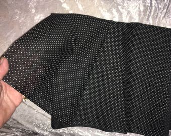 Black cotton dotted swiss fabric, 45 inches x 4 1/2 yards