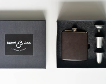 flask gift box set personalized with initials - Dark brown leather