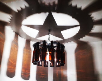 Texas Star light , bottle Chandelier, home and living, gift ,Lone Star, Texas, lighting, bar,wine,decor,Cowboy, Western,Rodeo