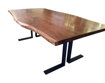 Sinclair Live edge Walnut dining table with custom steel base, unique dining table, walnut slab table free shipping