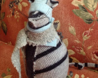 Blue and grey-striped Softie Rat made from upcycled wool