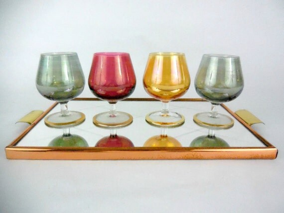 french vintage art deco tray brass copper mirror bistrot art. Black Bedroom Furniture Sets. Home Design Ideas