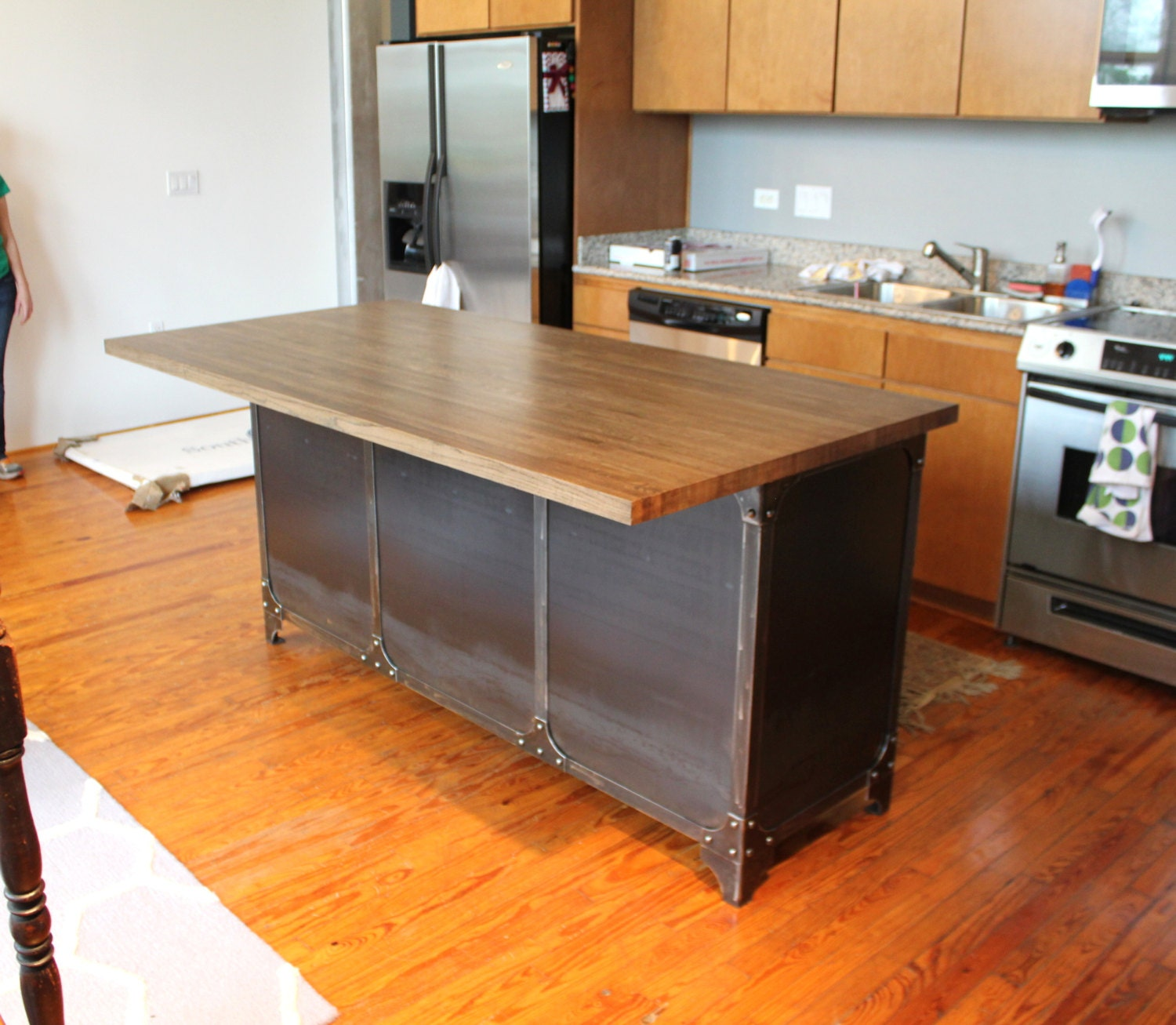 Industrial Kitchen Island Butcher Block Breakfast Table