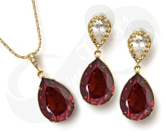 Gold Bridesmaid Jewlery Set Bridal Swarovski Ruby Red Earrings Ruby Red Necklace Set Bridal Jewelry Necklace Bridal Set Bridesmaid Gift