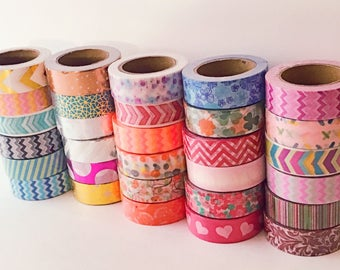 30 ct. Washi Japanese Tapes Each 32.8 ft. Long 0.6 inch Wide Variety Tape Lot Extra Long