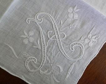 Vintage Madeira Handkerchief,  Initial A Hankie