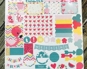 Pink Colorful Flamingos Sampler Sheet