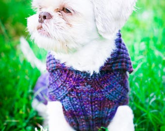 Handknit Cat & Dog Sweater Mock Cable Pattern in Superwash Merino, Colorway Hermosa - CUSTOM