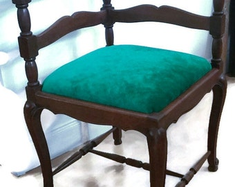 Vintage Reupholstered Corner Chair With Designer Guild Emerald Chenille