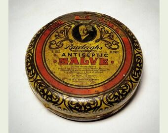 Vintage Rawleigh's Antiseptic Salve Round Tin / Collectible Antiseptic Salve Tin  / Tin Box / Best Gift Idea / Primitive Decor/ F1794
