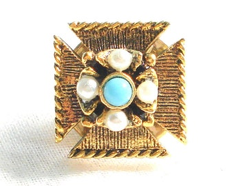 BALLOU TIE TACK Maltese Cross Faux Pearls Faux Turquoise